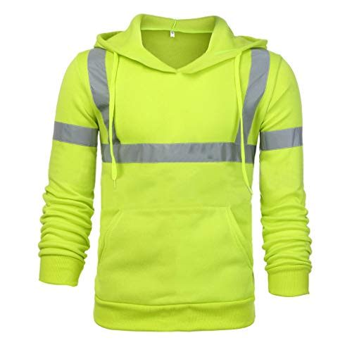 (ANJUNIE Mens Professional Waterproof Rain Jacket Lightweight Road Work High Visibility Pullover(Green,M))