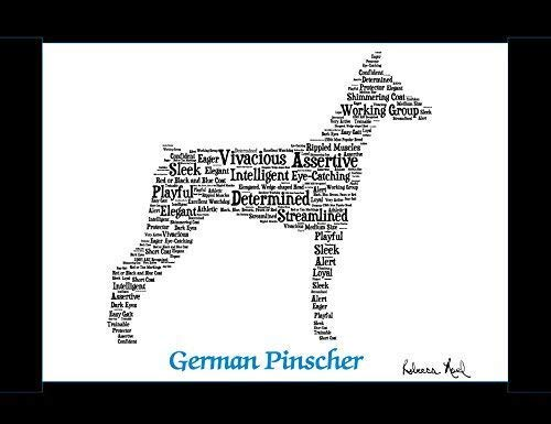 German Pinscher Dog Wall Art Print - Personalized Pet Name - Gift for Her  or Him - 11x14 matted - Ships 1 Day