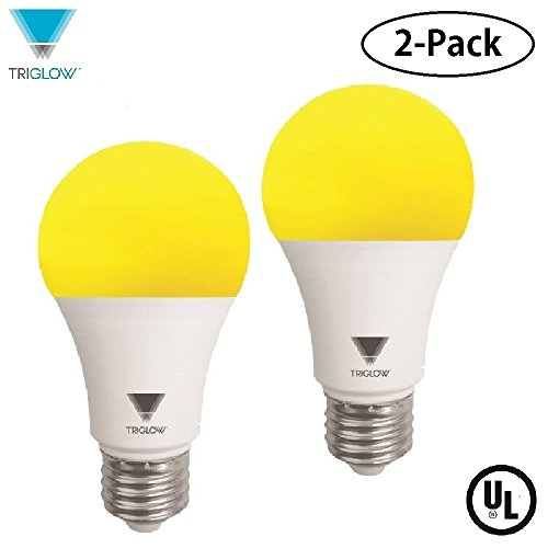 TriGlow Yellow LED A19 Light Bulb, 9W (60W Equivalent) Yellow Bug Light Bulb, 2-Pack