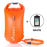 Nturel Swim Buoy 20L - With Dry Bag Space - For safety while swimming in open water, diving, kayaking or preparing for triathlon - With free waterproof phone case