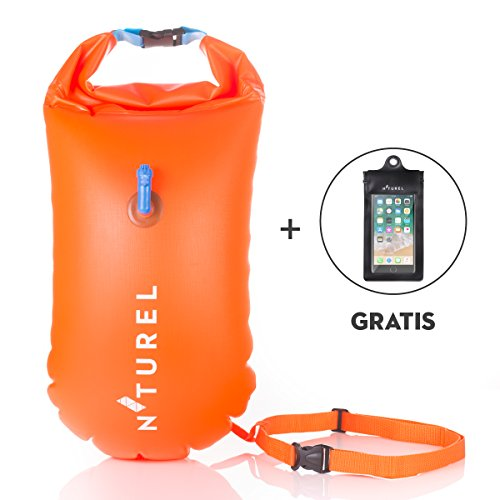 Swim Buoy 20L - For safety while swimming in open water, diving, kayaking or preparing for triathlon - With free waterproof phone case