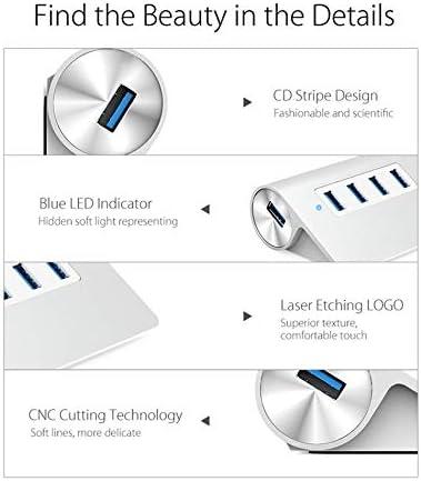 Farbe : Silver 1 Port USB3.0 BMWY HUB USB 3.0 HUB Mini High Speed Aluminum 4 Port USB HUB Splitter with Data Cable USB