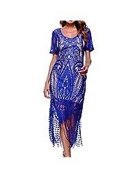 FANOUD Women Party Short Sleeve Casual Lace Tassel V-Neck Pencil Dress