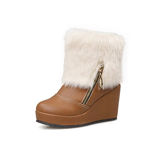 Soft Material Womens On Pull Brown Closed Toe High AllhqFashion Boots Top Low Heels Round dHqwxYX