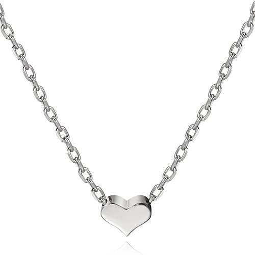S.Leaf Tiny Heart Necklace Sterling Silver Delicate Love Heart Collar Necklace Dainty Necklace (silver, 5)