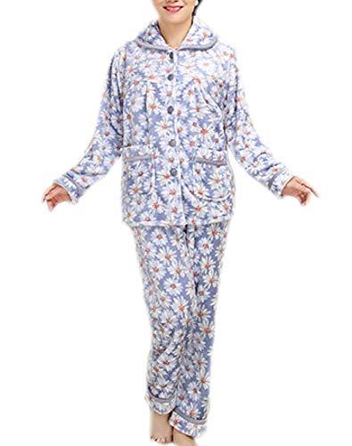 Pantalones Conjunto Larga Para Correr Pijama Ocio De Azul Lujo Top Moda Cálido Manga Mujer Suave Franela Y fP6wPqp