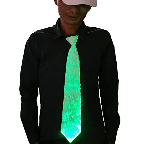 1clienic LED Necktie 7 Colors Light Up Tie LED Glow Dark, 2019 Upgrade USB Rechargeable Luminous Novelty Necktie Unisex LED Tie for Party Costume Men Women Boys