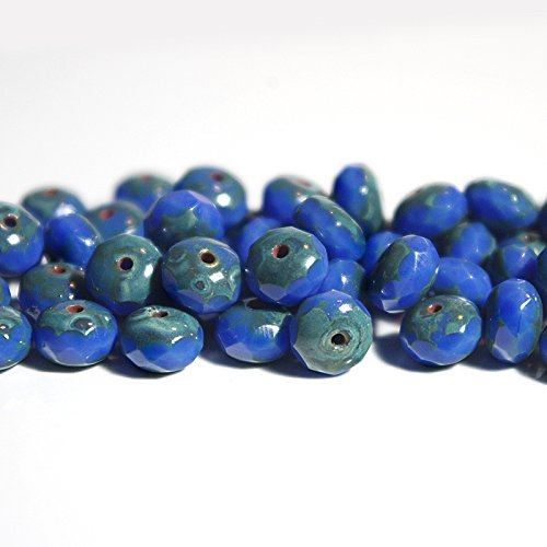 40 pcs Opaque Blue Czech Rondelle Beads Czech Glass Rondelles Czech Faceted Rondelle Bead Donut Beads 7mm