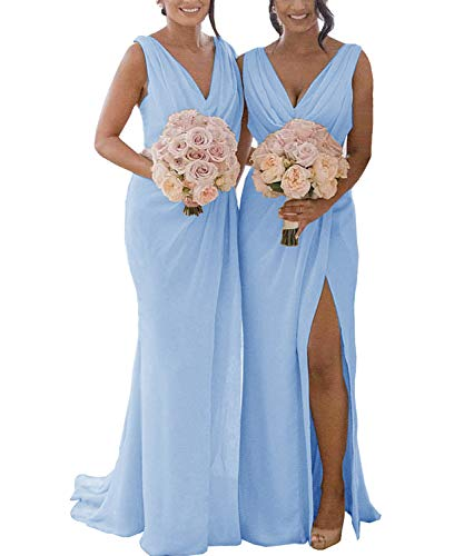 Women's Double V Neck A Line Open Back Ruffled Slit Chiffon Bridesmaid Dress Long Simple Formal Gown Sky Blue US2