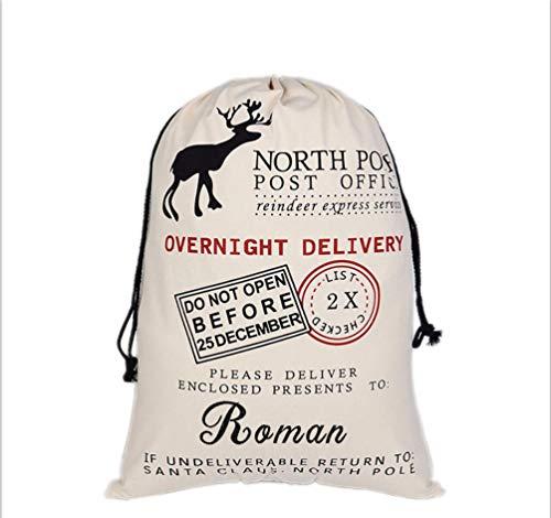 HUAN XUN Personalized Christmas Santa Sack Custom Name Roman Best Gifts Bags for Home Familys ()