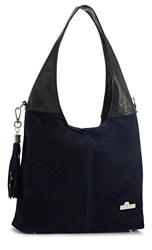 LiaTalia Womens Girls Genuine Italian Suede and Soft Leather Hobo Shopper Shoulder Tote Handbag - Agnes [Navy - Black Trim]