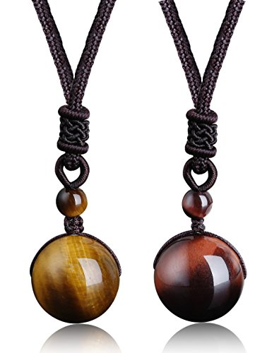 ORAZIO 2Pcs Natural Stone Beads Pendant Tiger Eyes Stone Necklace Couple Lover Relationship Necklace Adjustable Healing Necklace - Tigers Eye Rope