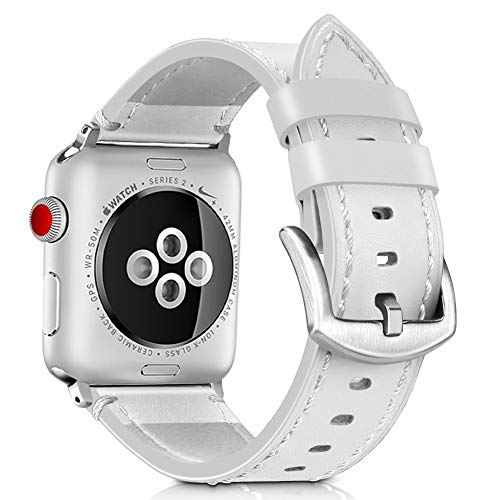 Runostrich Compatible Apple Watch Band Leather 44mm 42mm 40mm 38mm, Sport Leather Watch Strap/Band Compatible Apple Watch Series 4 3 2 1 Sport Nike+ Edition (White, 42mm/44mm)