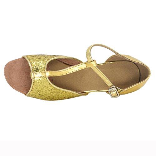 Jig Foo Sandals Open-toe Latin Salsa Tango Ballroom Dance Shoes for Girls with 1.2