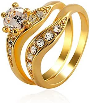 GLAMOUR 18k Gold Plated Golden Petals Cubic Zirconia CZ Ring For Women Fashion Jewelry