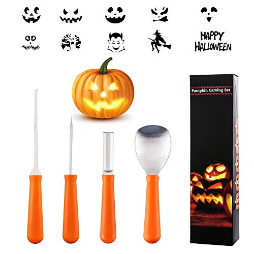 Pumpkin Carving Kit, 4 Pieces Heavy Duty Stainless Steel Pumpkin Carving Tools with 10 Carving Stencils, Ergonomic Design, Perfect for Adult and Children Halloween Decoration
