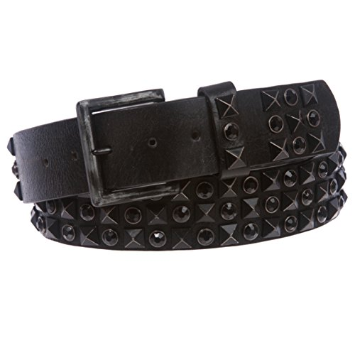 Snap On Cowhide Rhinestone Punk Rock Star Distressed Studded Leather Bling Belt, Black/Jet Black | - Rock Rhinestone Star