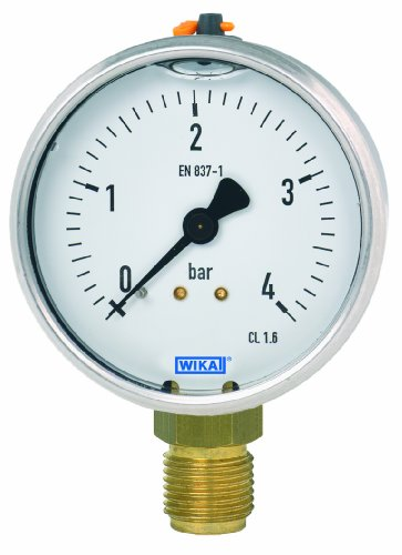 Gauge Wika - WIKA 50702483 Commercial Pressure Gauge, Liquid-Filled, Copper Alloy Wetted Parts, 1-1/2