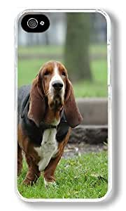 Basset Hound Hunting Dog Custom iPhone 4S Case Back Cover, Snap-on Shell Case Polycarbonate PC Plastic Hard Case Transparent hjbrhga1544