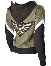 Ya-cos Zelda Costume Link Hooded Sweater Hyrule Warriors Zipper Coat Jacket Green for Girl Boy