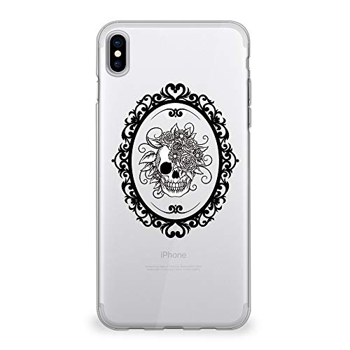 CasesByLorraine iPhone Xs Case, iPhone X Case, Halloween Skull Clear Transparent Case Flexible TPU Soft Gel Protective Cover for iPhone X (2017) / iPhone Xs (2018) (P108)