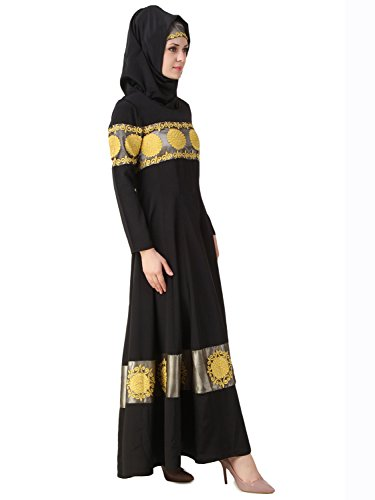 MyBatua Schwarz Anarkali Eid & Party Wear Abaya Burqa Kleid AY-489