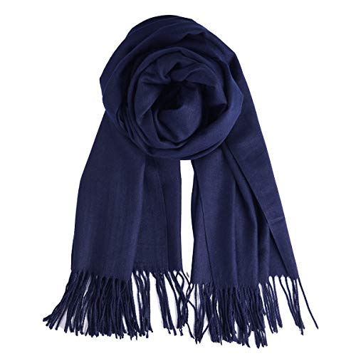 - QBSM Womens Navy Blue Winter Pashmina Scarf Blanket Formal Shawls and Wraps for Evening Dresses