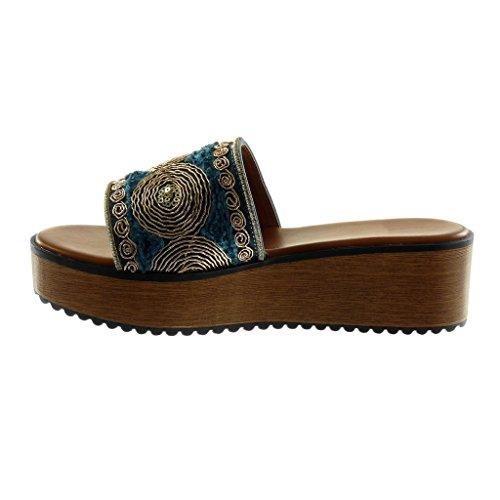 on Angkorly Bois 5 Slip Compensé Plateforme Plateforme Chaussure Brodé cm 5 Fantaisie Femme Bleu Mule Sandale Talon Mode SXq6SAwr