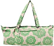Deluxe Large Cotton/Jute Yoga Kit Bag for Full Size Yoga mat and Accessories, Mandala Print, with complimentar