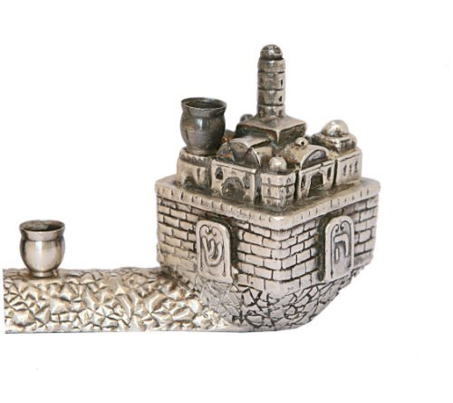 USED 925 Sterling Silver Menorah Hanukkia Collector's Very Unique Jerusalem Dreidel Design Jewish Art. Great Gift For Hanukkah and Jewish Homes.