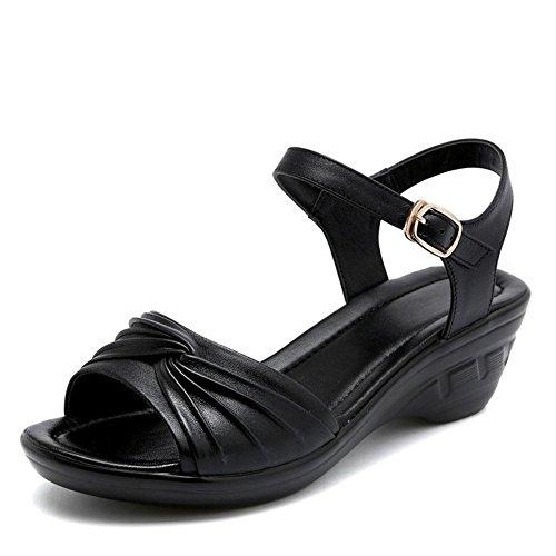 QL@YC Frauen Sandalen Sommer Steigung Mit Leder High Heels Großer Fisch Mund Non Slip Soft Bottom Schuhe , black , 39