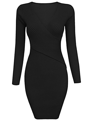 Grapent Women's Black Long Sleeve Crisscross V Neck Ribbed Short Bodycon Sweater Dress XL (US 16-18) - Criss Cross Pump