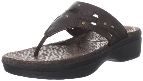 Rockport Fanessa Rivet Thong Slide, Damen Sandalen Braun (Deep mahogany)