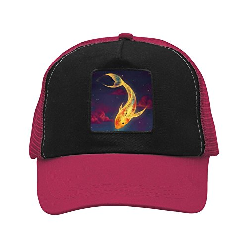 Time Goldfish And Cat Unisex Mesh Cap Baseball Caps Casual Trucker Hats Wine Red