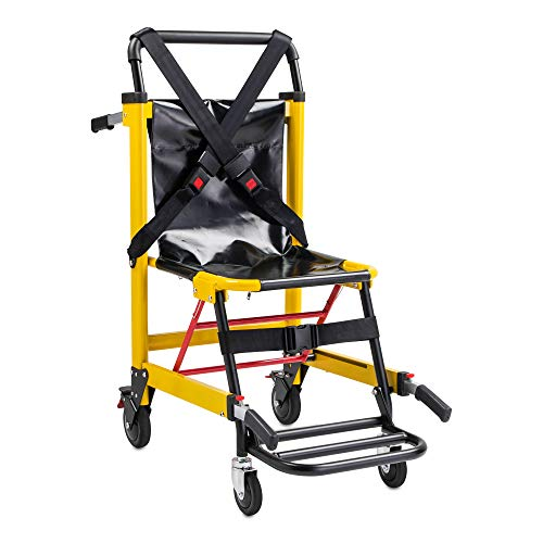 LINE2design EMS Stair Chair 70002-Y Medical Emergency Patient Transfer - 4 Wheel Deluxe Evacuation Chair - Ambulance Transport Folding Stair Chair Lift - Load Capacity: 400 lb. -