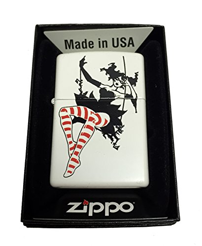 Zippo Custom Lighter - Swinging Masked Woman LADY With Striped Stockings - Regular White (Lighter Costume)