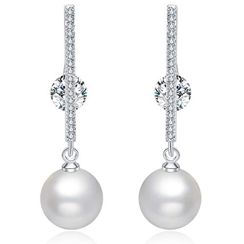Pearl Earrings Dangle Silver with Swarovski Crystal, White Dangling Pearls Women's - Dangle Pearl Crystal Earrings