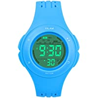Kids Watch Waterproof Children Electronic Watch - Lighting Watch 50M Waterproof for Outdoor Sports,LED Digital Stopwatch with Chronograph, Alarm, Child Wrist Watch for Boys, Girls - PerSuper (Blue)