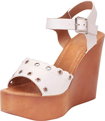 - Cambridge Select Women's Retro 70s Open Toe Scalloped Eyelet Chunky Platform Wedge Sandal,7.5 B(M) US,White PU