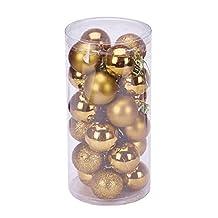 Changeshopping Christmas 4 cm 24PC Plastic Christmas Tree Decoration Ball (Gold)