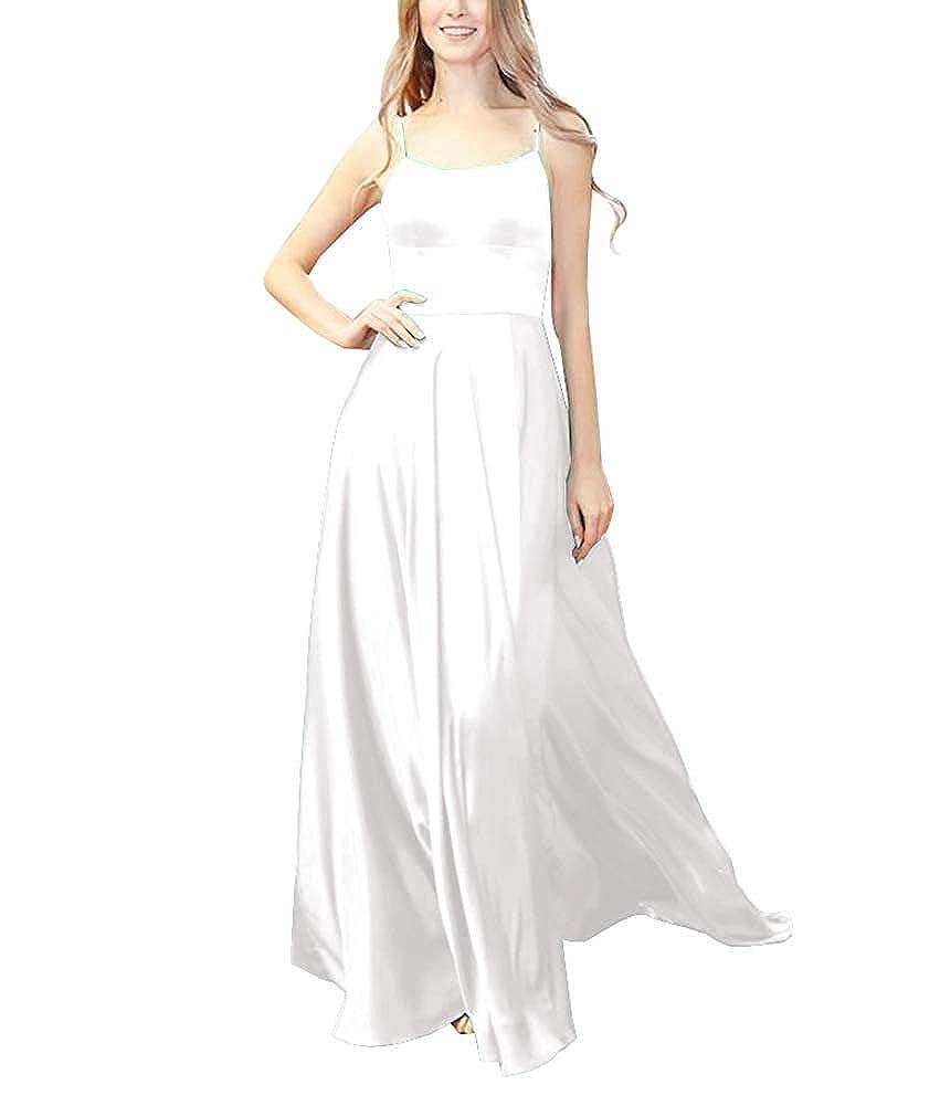White XSWPL Womens Halter Prom Dresses Long Split ALine Spaghetti Evening Gowns with Pockets
