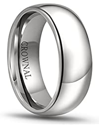 CROWNAL 8mm 6mm 5mm 4mm 3mm 2mm White Tungsten Carbide Polished Classic Dome Wedding Ring All Sizes