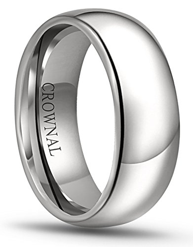 CROWNAL 8mm 6mm 5mm 4mm 3mm 2mm White Tungsten Carbide Polished Classic Dome Wedding Ring (8mm, - Band 8mm Platinum Wedding