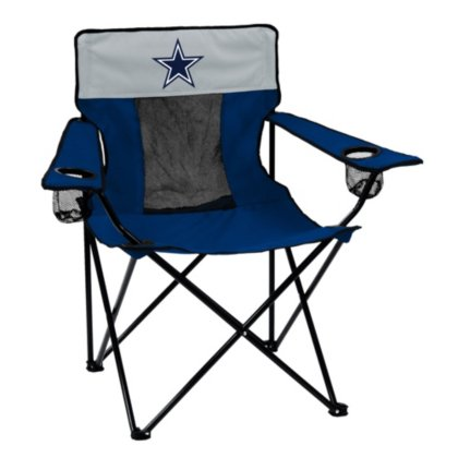 Logo Brands NFL Dallas Cowboys  Folding Elite Chair with Mesh Back and Carry Bag , Navy Blue,  One Size