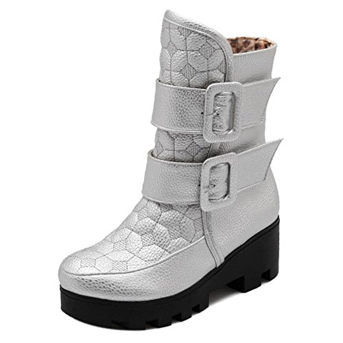 Winter Boots Warm COOLCEPT Silver Women gwO7q7