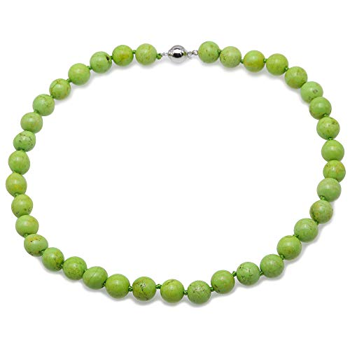 JYX Pearl Necklace Beautiful 11.5-12mm Green Round Turquoise Necklace Gemstone Jewelry for Women 19