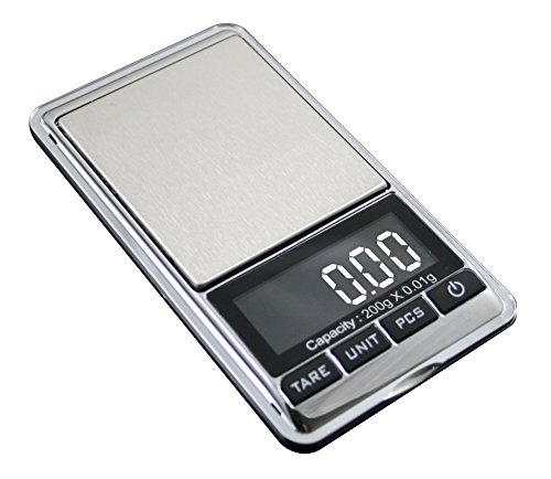 American Weigh Chrome Digital Pocket Scale, 200g by 0.01gm (200g Gift)