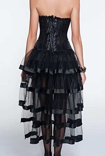 Jupe Pièces amp;7084 Noir Dissa 1143 W1143 Femme Corset Noir Ensembles Sexy De 2 vwwYqIPZx