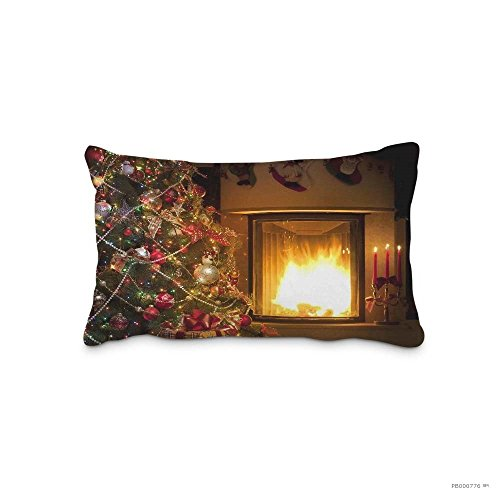 Sophia Emma Xmas Tree Fireplace Gift Pillow Protector Chair Seat Back Office Pillow Cushion Cover Cotton Polyester Pillow Case Decorative Pillowcase Standard Pillow Sham (Twin Sides) by Sophia Emma