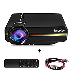 Mini projector deeplee portable video projector hd for Hd projector amazon